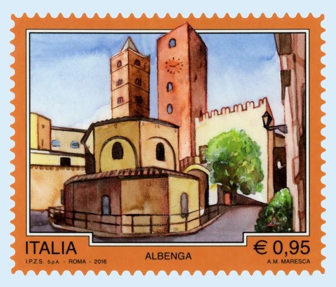 Eine neue Briefmarke  Albenga gewidmet, ist herausgegeben worden!