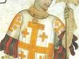 Godfrey of Bouillon holding a pollaxe. Manta Castle Cuneo Italy
