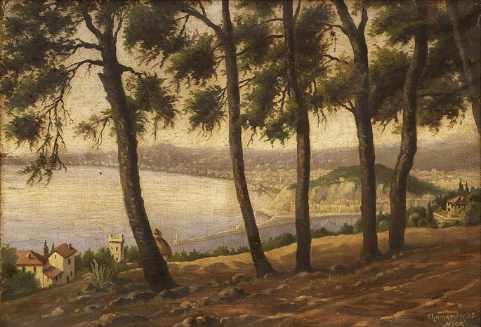 Emile-Sylvain Chamard-Boix (attributed to) Port of Nice and Baie des Anges from Mont-Boron, 1933