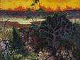 Landschaft mit roter Wolke