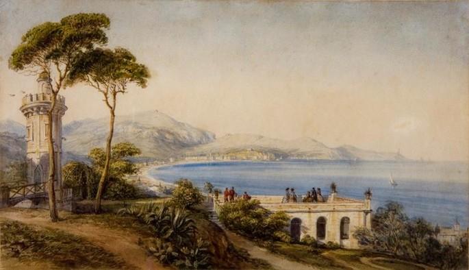 Die russische Kaiserin Maria Alexandrowna (1824-1880) betrachtet die Landschaft von den Terrassen der Villa, Gastaud. Service des Archivs Nice Côte d'Azur @ Ville de Nice